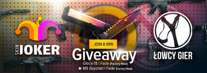Giveaway: itemy do CS:GO – Glock 18 | Fade i M9 Bayonet | Fade
