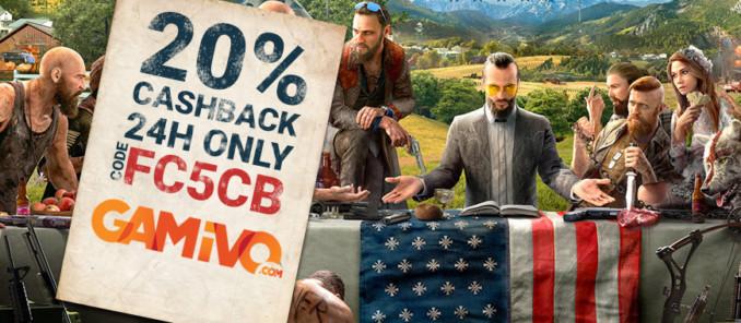 20% cashbacku za zakup Far Cry 5 na GAMIVO