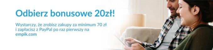 Bon na 20 złotych w Empiku za pierwszą transakcję o wartości min. 70 zł opłaconą przez Paypal