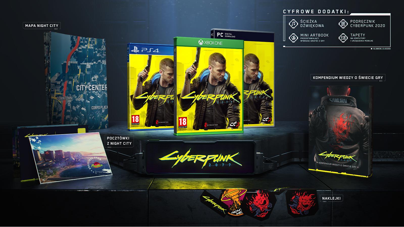 Zawartość pudełka z grą Cyberpunk 2077