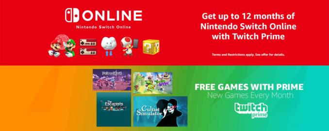 4 gry za darmo, trzy miesiące abonamentu Nintendo Switch Online i masa innych dodatków za zapisanie się do 30 dniowego triala Twitch Prime (działa nawet jeśli już wcześniej skorzystaliście z triala)