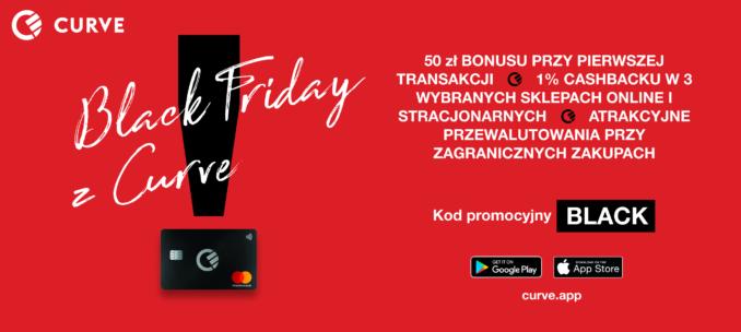 Darmowe 50 złotych w prezencie na Black Friday za założenie karty Curve + 1% cashbacku na Amazon/Apple/Netflix