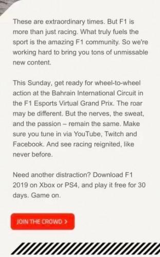 Darmowy miesiąc gry w F1 2019 na konsolach