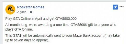 Darmowe 500 000 GTA$ w GTA Online