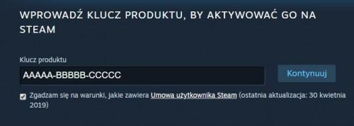 Aktywacja klucza Steam
