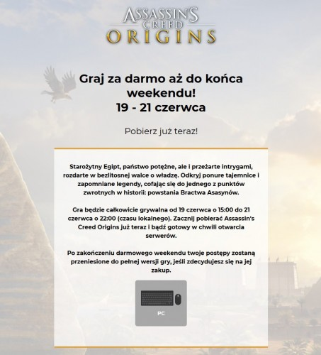 Darmowy weekend Assassin's Creed Origins