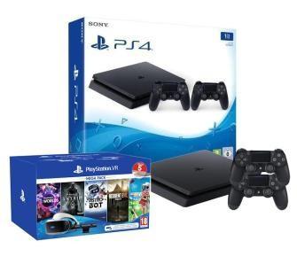 Promocja na Sony PlayStation 4 Slim 1TB + 2 pady + PlayStation VR Megapack V2