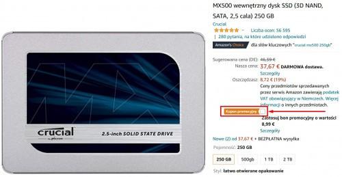 Promocja na MX500 wewnętrzny dysk SSD