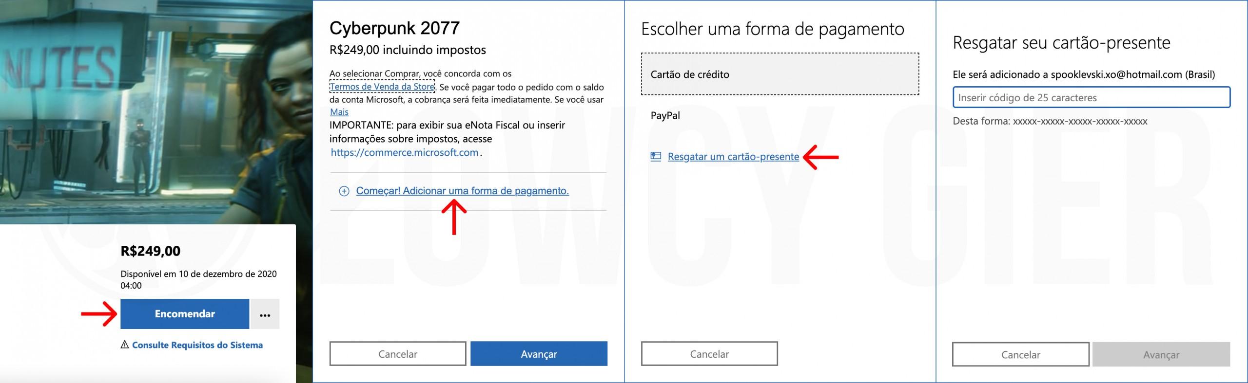 Zakup Cyberpunk 2077 w brazylijskim MS Store