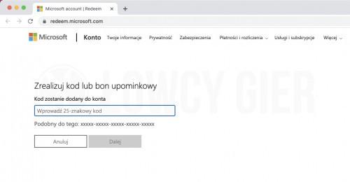 Realizacja kodu lub bonu upominkowego w Sklepie Microsoftu