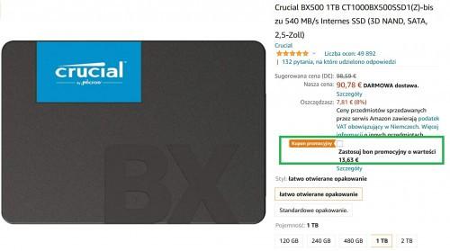 Promocja na Crucial BX500 1TB