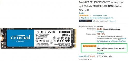 Promocja na Crucial P2 1TB M.2 NVMe