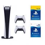 PlayStation 5 Digital Edition + Dodatkowy kontroler DualSense + PlayStation Plus 3 mies. + Kod aktywacyjny PlayStation Store 100 zł