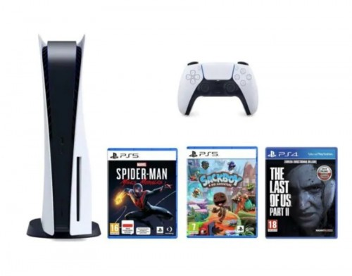 PlayStation 5 + Marvel's Spider-Man Miles Morales + Sackboy A Big Adventure + The Last Of Us Part II