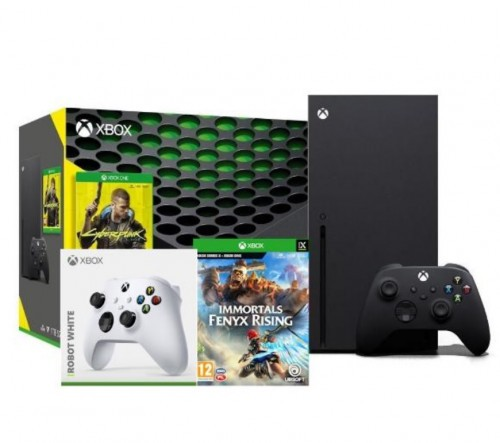 Xbox Series X + Cyberpunk 2077 + Immortals Fenyx Rising + dodatkowy pad