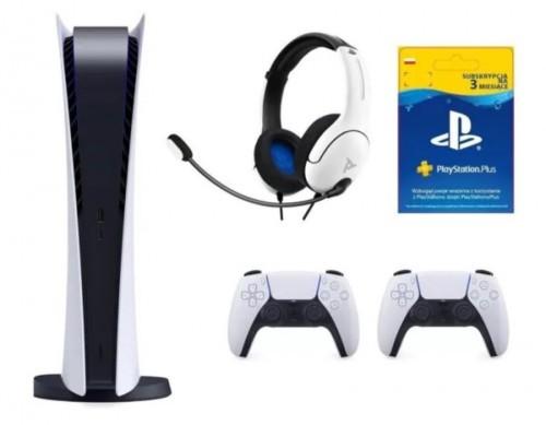 Promocja na PlayStation 5 Digital Edition + Dodatkowy kontroler DualSense + Zestaw słuchawkowy PDP LVL40 Wired Biały + PlayStation Plus 3 mies
