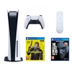 PlayStation 5 + pilot PS5 Media Remote + The Last of Us Part II + Cyberpunk 2077