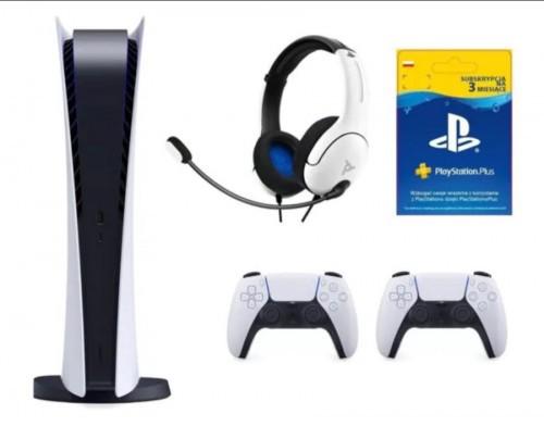 Prom ocja na PlayStation 5 Digital Edition + Dodatkowy kontroler DualSense + Zestaw słuchawkowy PDP LVL40 Wired Biały + PlayStation Plus 3 mies