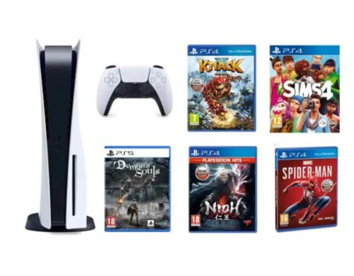PlayStation 5 + Demon's Souls + Marvel's Spider-Man + HITS NiOh + Knack 2 + The Sims 4