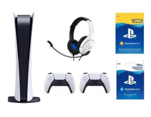 PlayStation 5 Digital Edition + Dodatkowy kontroler DualSense + Zestaw słuchawkowy PDP LVL40 Wired Biały + PlayStation Plus 12 mies. + Kod aktywacyjny PlayStation Store 100 zł