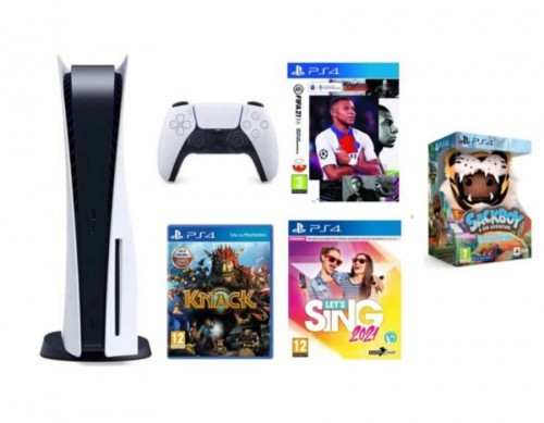 PlayStation 5 + FIFA 21 Edycja Mistrzowska + Knack + Sackboy A Big Adventure Special Edition + Let's Sing 2021 + Mikrofon