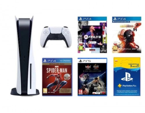 PlayStation 5 + Marvel's Spider-Man Edycja Gry Roku + FIFA 21 Edycja Standardowa ze steelbookiem + NiOh Collection + Star Wars: Squadrons + PlayStation Plus 3 mies