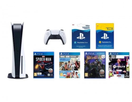 PlayStation 5 + Marvel's Spider-Man: Miles Morales + FIFA 21 Edycja Standardowa ze steelbookiem + MediEvil + The Sims 4 z dodat. The Sims 4: Star Wars Wyprawa na Batuu + PlayStation Plus