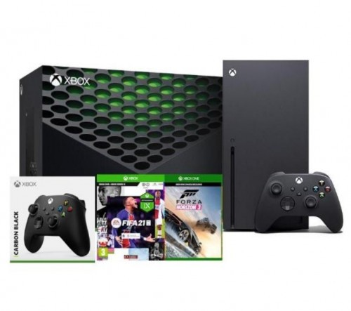 Xbox Series X + FIFA 21 + Forza Horizon 3 + dodatkowy pad (czarny)
