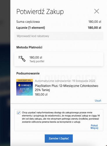 Zakup PlayStation Plus za doładowania portfela PS Store