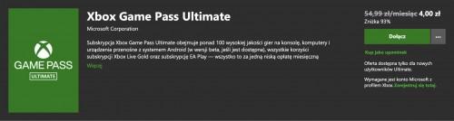 Miesiąc Xbox Game Pass Ultimate za 4 zł