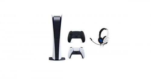 Promocja na Konsola SONY PlayStation 5 Digital Edition + Dodatkowy kontroler DualSense Czarny + Zestaw słuchawkowy PDP LVL40 Wired Biały