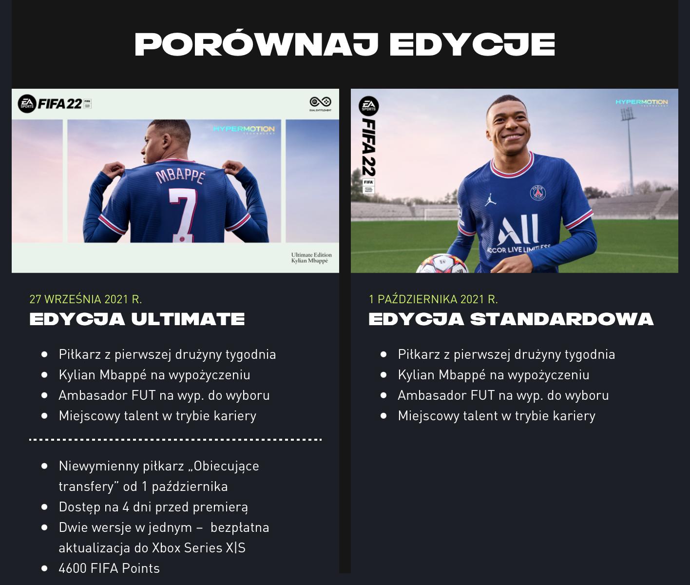 Porównanie edycji FIFA 22